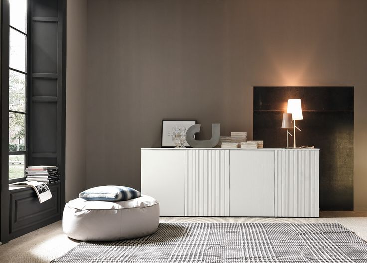 The Stylish SMA Symphonia High Sideboard   Engraved Vertical Lines In The Solid  Wood Doors.