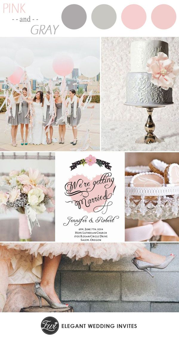 """Pink and Gray Elegant Wedding Color Ideas and Invitations// Use coupon code """"CVB"""" to get 10% off towards all the invitations. #elegantweddinginvites"""