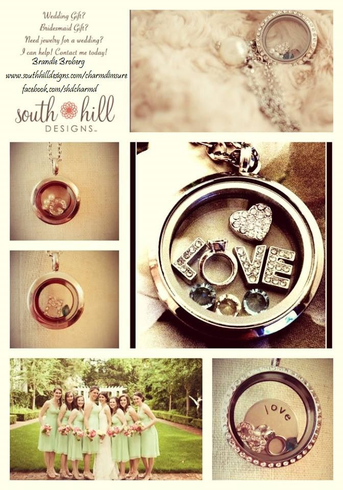 www.southhilldesigns/meshell6192    Wedding Day Gifts for Bride or Bridesmaids with South Hill Designs locket