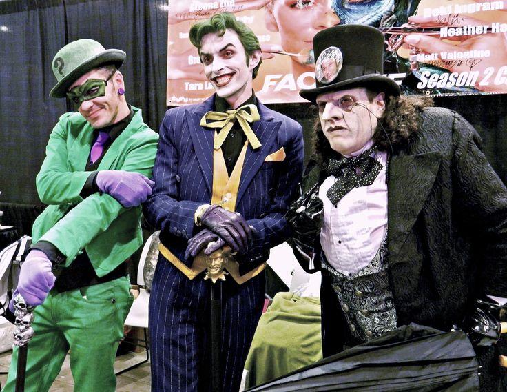 Anthony Misiano ( Harley's Joker ) & Robert RJ Haddy ( The Penguin )  & The Riddler —- Comikaze 2012