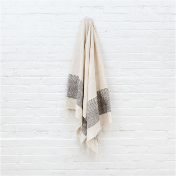 Handwoven Ethiopian cotton bath towel in grey ribs | Ethiopia | TWENTY ONE TONNES