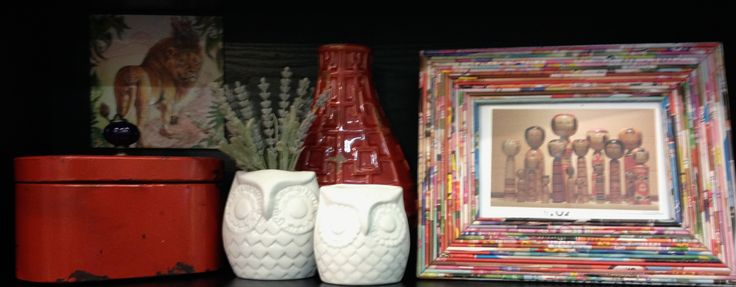 Have some fun with red!  Recycled paper picture frame, owl vases and cute vintage look tin.