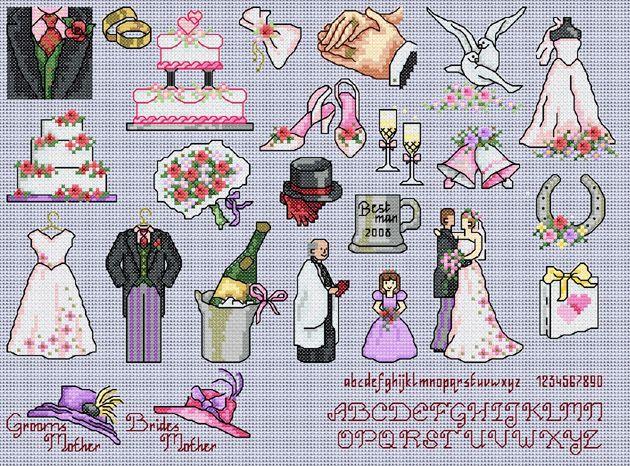Maria Diaz Designs: Cute Wedding (Cross-stitch chart)