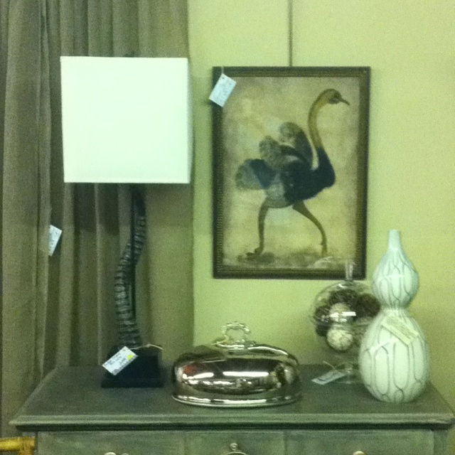Vintage ostrich painting