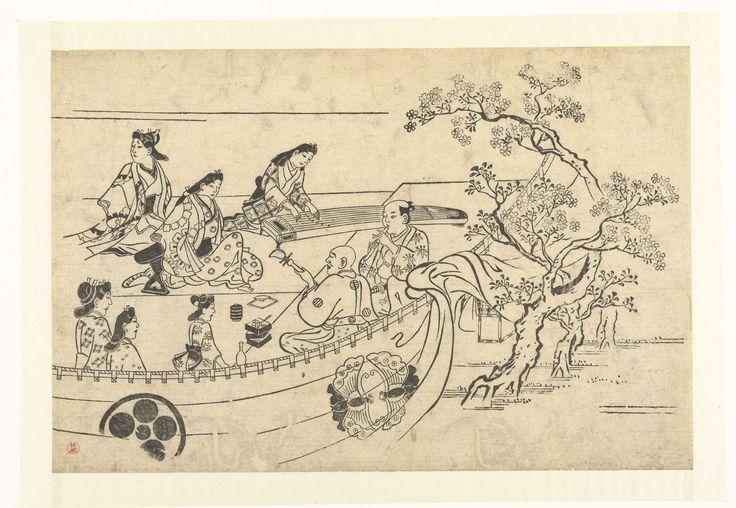 anoniem | Musicerend gezelschap onder een kersenboom, attributed to Hishikawa Moronobu, 1673 - 1677 | Acht personen achter een gordijn vastgemaakt aan een tak van een bloesemende kersenboom; twee musicerende mannen en een koto spelende vrouw zitten met vijf andere vrouwen rondom een sake fles en lunchdozen.