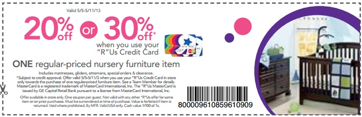 """20% or 30% Off One Regular Priced Nursery Furniture Item when You Use """"R"""" Us Credit Card [Exp. 05/11]"""