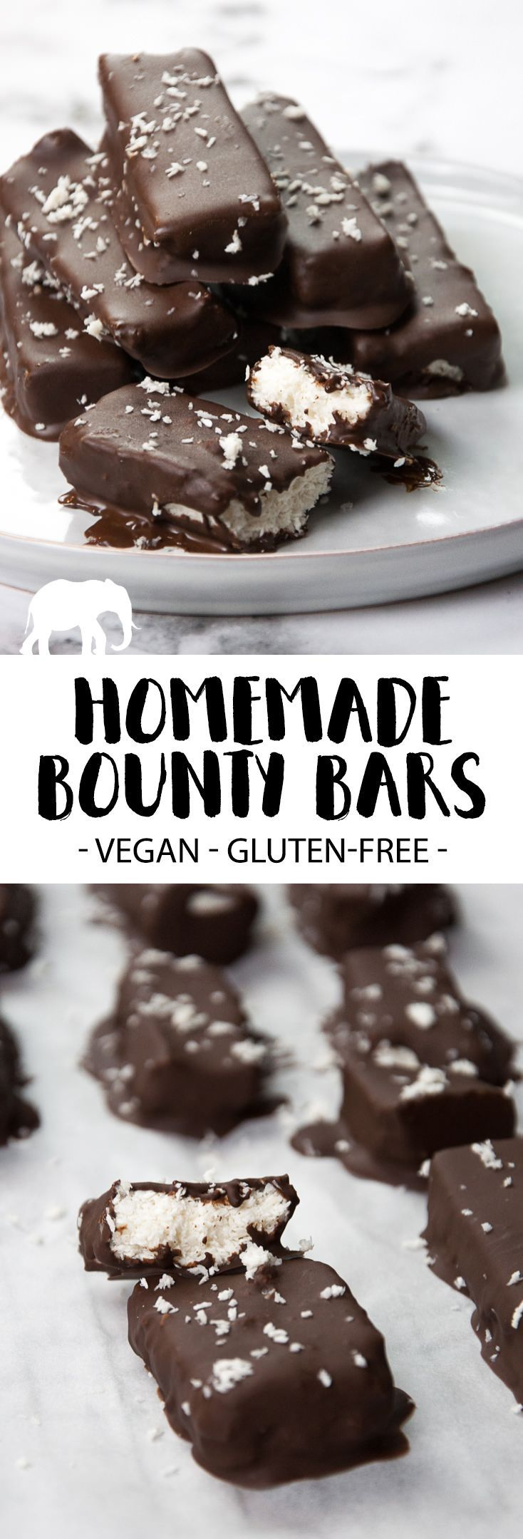 Make your own healthier version of Bounty / Mounds at home! For these gluten-free and vegan Bounty Bars you'll only need 6 ingredients
