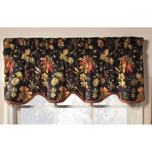 Felicite Noir Window Valance Waverly Valances & Window Scarves Window Treatments Home Deco