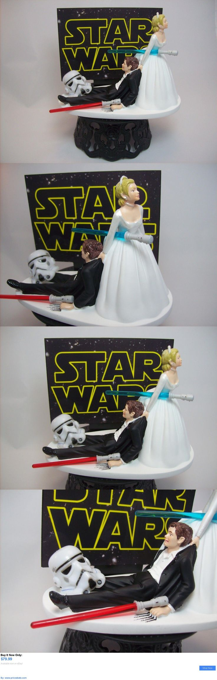 Wedding Cakes Toppers: Star Wars Stormtrooper Bride And Groom Funny Wedding Cake Topper Jedi Lightsaber BUY IT NOW ONLY: $79.99 #priceabateWeddingCakesToppers OR #priceabate