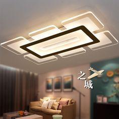 Eusolis 110 220v Sky City Ultra-thin Transparent Led Ceiling Light Fixtures Lampadari Lamparas De Techo Wohnzimmer Lampe 32