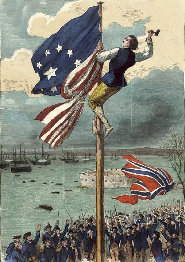 Lesser Know events in American History. Evacuation-Day Raising-The-American-Flag Fort-George