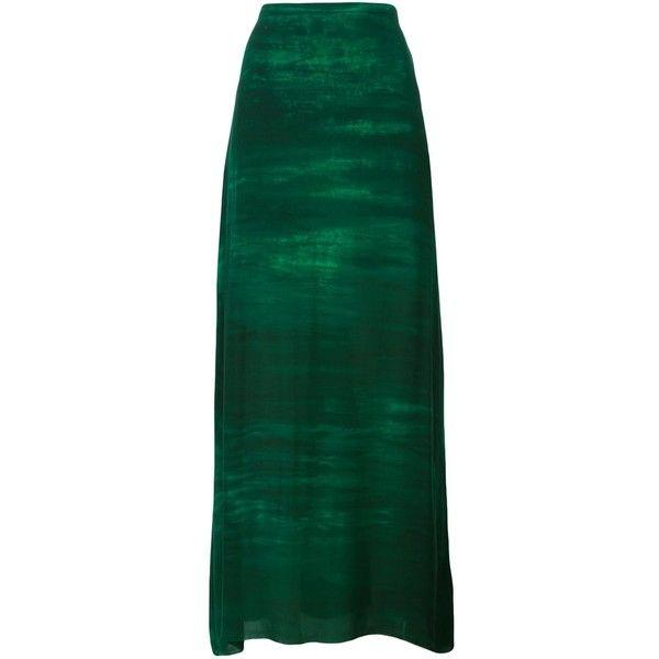 Raquel Allegra Haze Print Maxi Skirt ($786) ❤ liked on Polyvore featuring skirts, green, green maxi skirt, raquel allegra skirt, long print skirt, ankle length skirts and pattern skirt