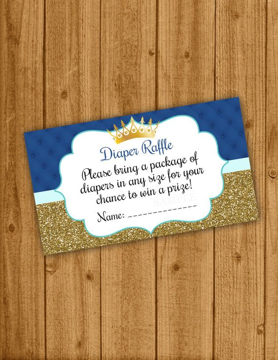 Our cute prince baby shower baby shower diaper raffle ticket is perfect to add to your invitations!  After purchasing, and payment is cleared,