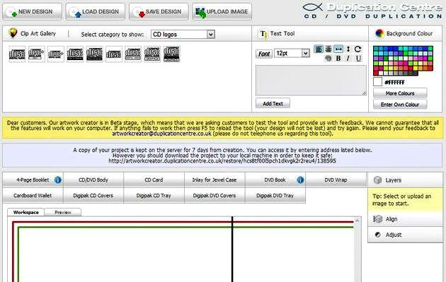 Artwork Creator, utilidad web gratuita para diseñar portadas de CD y DVD