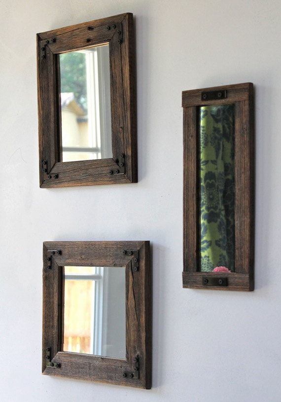 Mirror Collage - Rustic Industrial Eco Decor Reclaimed Wood - set of three finished framed farmhouse mirrors