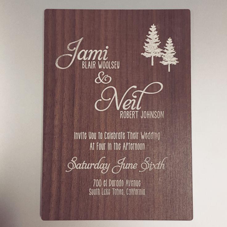 wedding invitations printed on wood%0A Walnut Wood Invitations with white print   woodinvitations  custom  unique   wedding