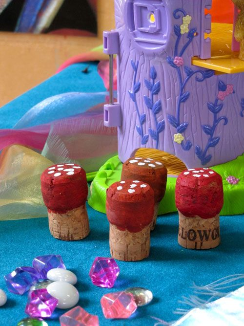 easy to decorate, cork toadstools for imaginative play spaces.