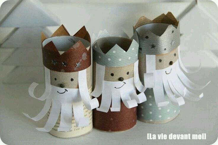 Nativity made with toilet paper rolls
