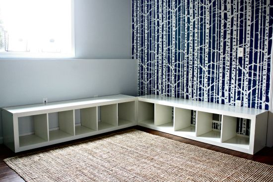 bench seating --- ikea book shelf