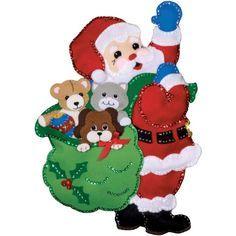 "Santa & Friends Wall Hanging Felt Applique Kit-13""X18"""