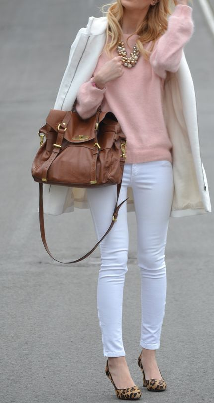 Fall / winter - street & chic style - pale pink sweater + white skinnies + white coat + statement necklace + brown handbag + leopard print stilettos