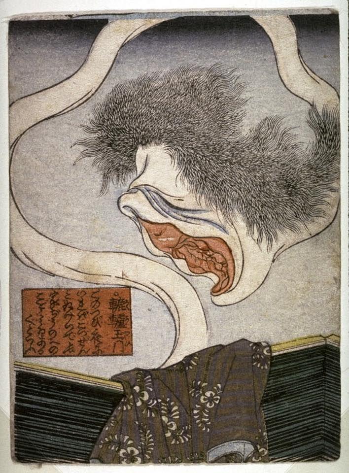 Utagawa Kuniyoshi // Rokuro kubi [ghost of pussy head],1840–1855.