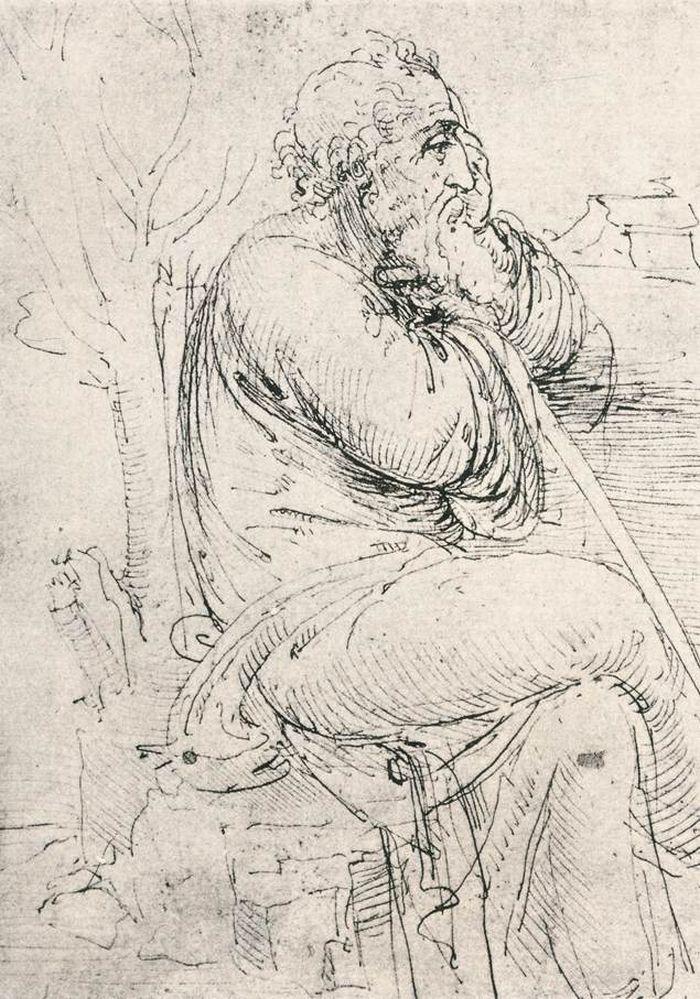 Seated old man by Leonardo da Vinci #art
