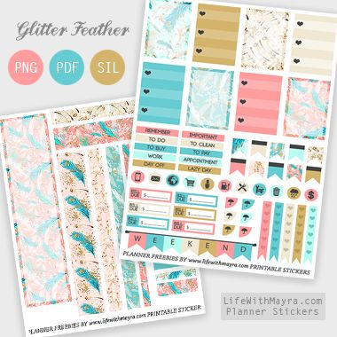 Free Glitter Feather Planner Stickers