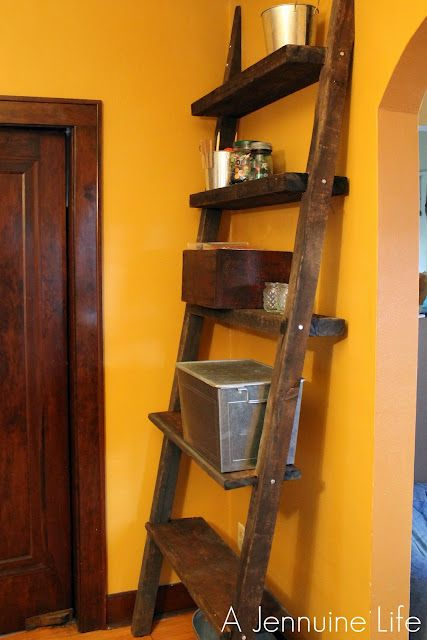 reclaimed wood ladder shelf-like the paint color too :) - 103 Best Images About Ladders & Ladder Shelves On Pinterest