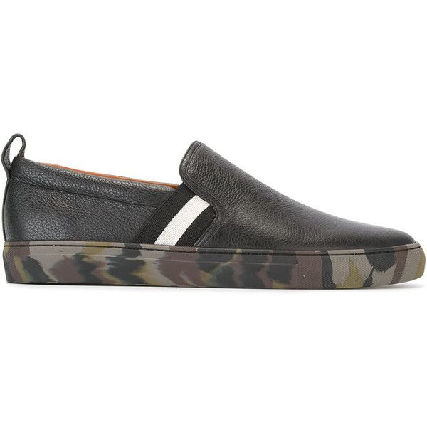 Bally slip-on sneakers ($450) ❤ liked on Polyvore featuring men's fashion, men's shoes, men's sneakers, black, mens black sneakers, mens leather shoes, mens black slip on shoes, bally mens shoes and mens black leather shoes