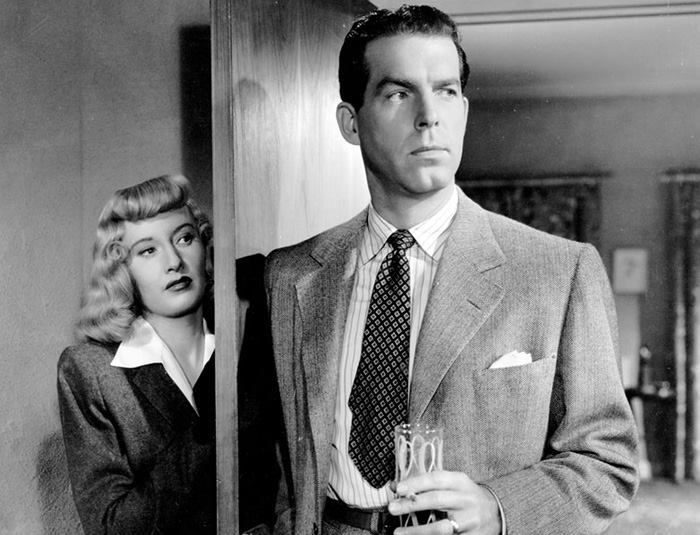 Barbara Stanwyck and Fred MacMurray in the 1944 film noir classic, Double Indemnity.