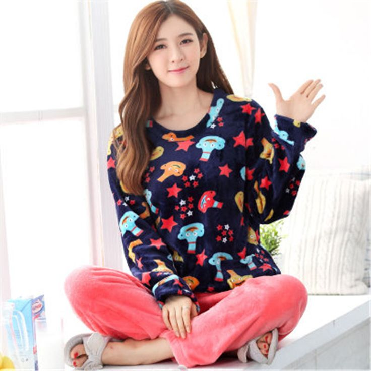 Cheap pajamas ladies, Buy Quality coral velvet pajamas directly from China velvet pajamas Suppliers: New winter women coral velvet pajamas lady long sleeved sleepwear suit primark pyjamas women sweet flannel clothing nightgown
