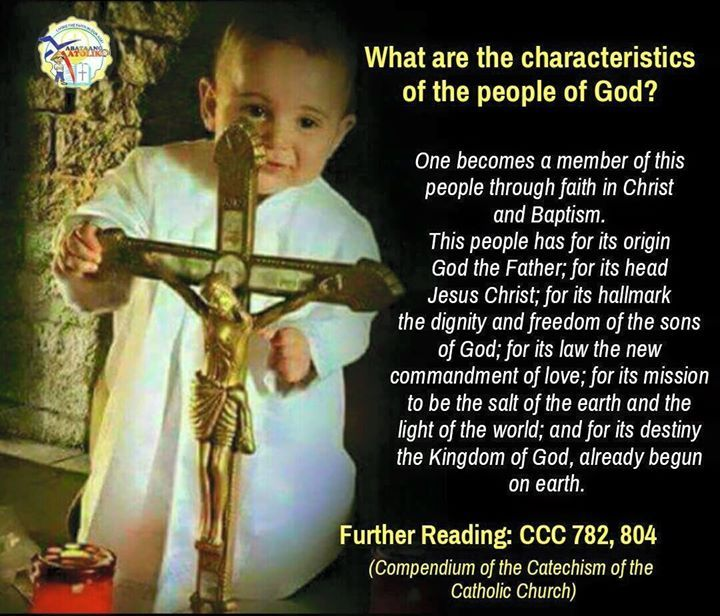 """What are the characteristics of the people of God?  (782) The People of God is marked by characteristics that clearly distinguish it from all other religious ethnic political or cultural groups found in history:  - It is the People of God: God is not the property of any one people. But he acquired a people for himself from those who previously were not a people: """"a chosen race a royal priesthood a holy nation.""""  - One becomes a member of this people not by a physical birth but by being """"born…"""