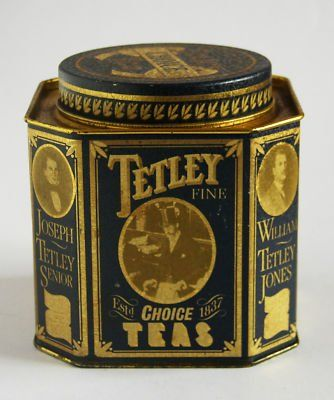 Tetley Tea octagonal tea tin ... reproduction tin in vintage style, vintage photographs and gold on blue lettering, screw lid, c. 1990s