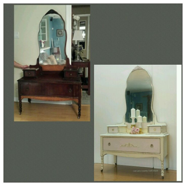 Vintage Vanity done in Old White and Pink chalk paint.