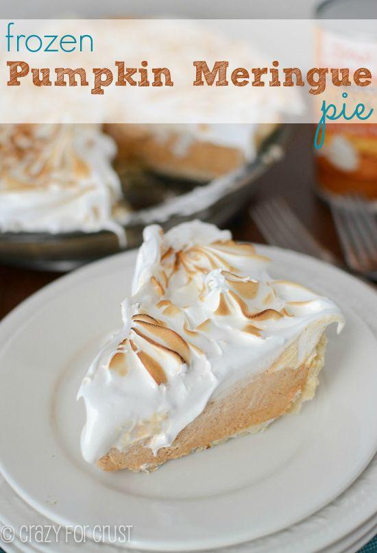 Frozen Pumpkin Meringue Pie | from @Crazy for Crust  | The BEST meringue I've ever had!