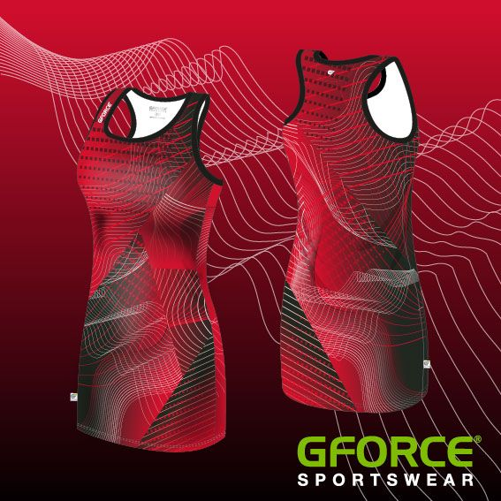 Keeping it contemporary with this futuristic red netball dress #dyesublimation #sports #teamwear #customkit #dyesub #sportswear #netball #dress #red #futuristic #contemporary #design #pattern
