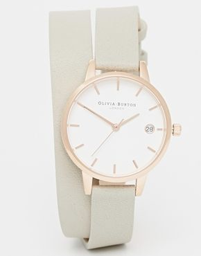 Увеличить Часы с циферблатом среднего размера и серым ремешком-браслетом Olivia Burton Dandy