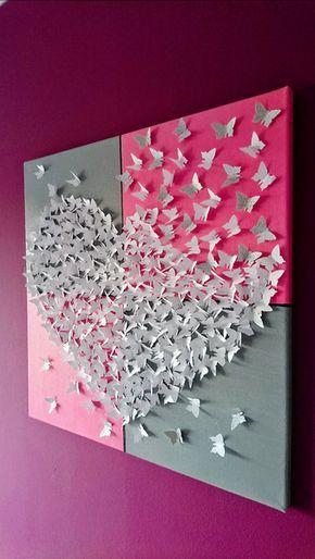 Wanddeko – 3D-Schmetterlingsherz Bild auf Leinwand…