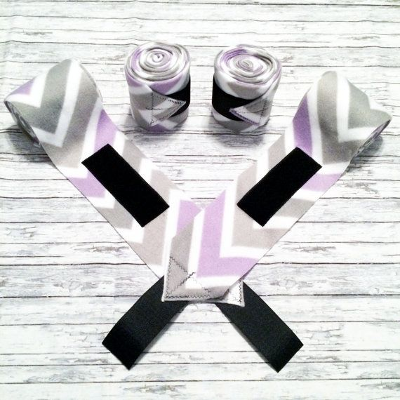 "Set of 4 horse sized #polowraps. Purple, gray, and white chevron. These wraps are made from 4 3/4"" wide and 9' long fleece with heavy duty Velcro tabs. $22 plus shipping."