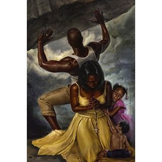''Behind Every Great Man'' by WAK - Kevin A. Williams African American Art Print (36 x 24 in.) - Free Shipping Today - Overstock.com - 19011372 - Mobile