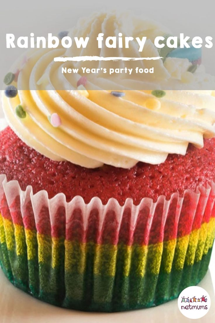 New Year's Eve party food - rainbow fairy cakes. Spectacular to look at and delectable to eat, these cupcakes can be made full sized or mini...