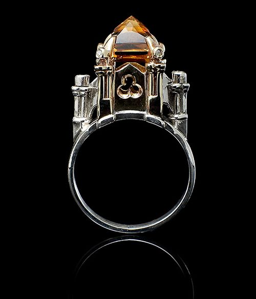 William Llewellyn Griffiths. Ring: Small Cathedral, 2004. Citrine, diamonds, sterling silver, and 9ct gold.