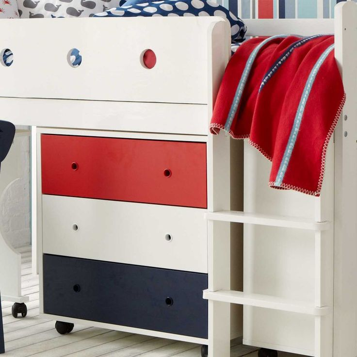 Our mid sleeper bed is raised not too high off the ground, and creates a perfect play den or somehere to put a useful cheat of drawers - or both.