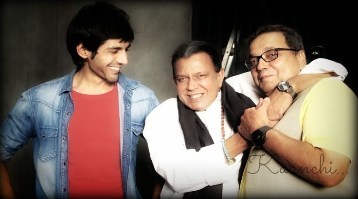 Kartik Aryan, Mithun Da and Subhash Ghai having fun on the sets of #Kaanchi #Movie #Bollywood