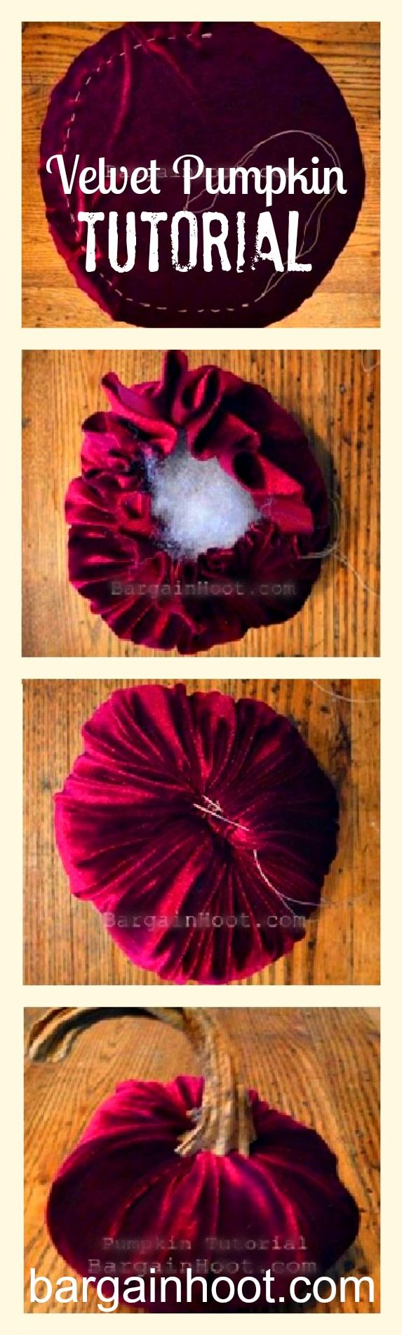 How to make a velvet pumpkin with a real stem: tutorial