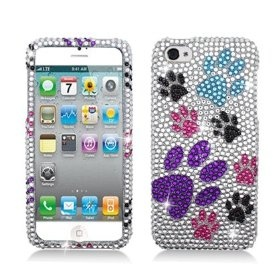 APPLE IPHONE 5 BLING LUXURY FULL DIAMOND COLORFUL PAWS $7.46 while supplies last!