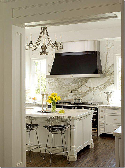 black + white kitchen with black hood