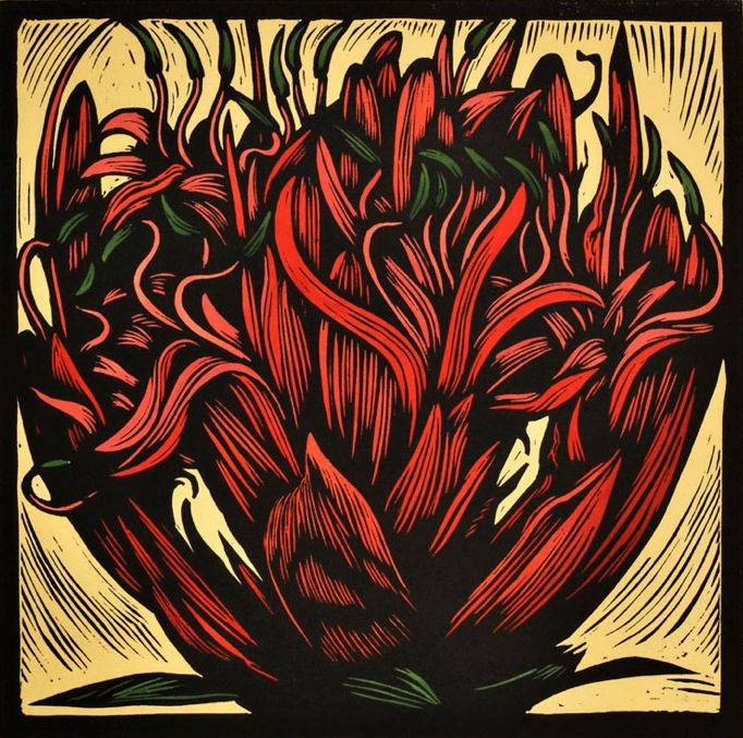 Hand-coloured linocut by Bruce Goold (b.1948), 1986, Gymea Lily. (Australian)