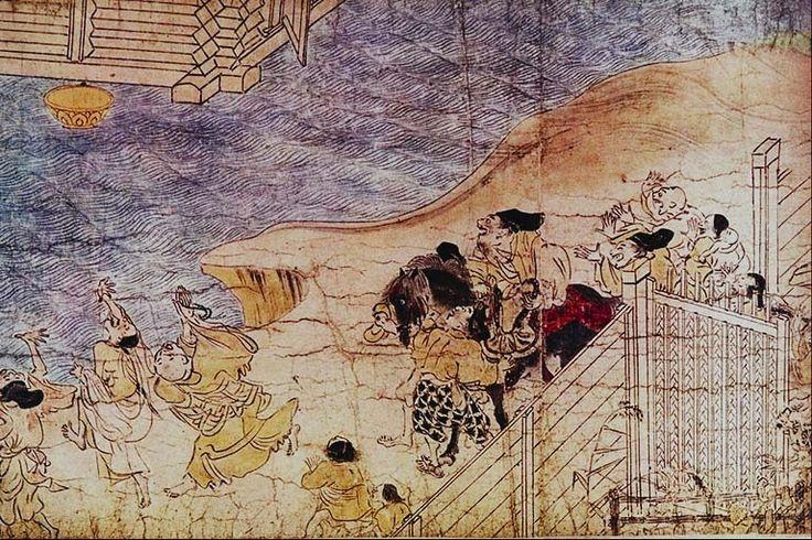 102. Rotolo dei Racconti del Monte Shigi (Shigisan engi emaki), fine del XII secolo. Inchiostro e colori su carta, particolare (h. cm. 31,8). Nara, Chogosonshiji.